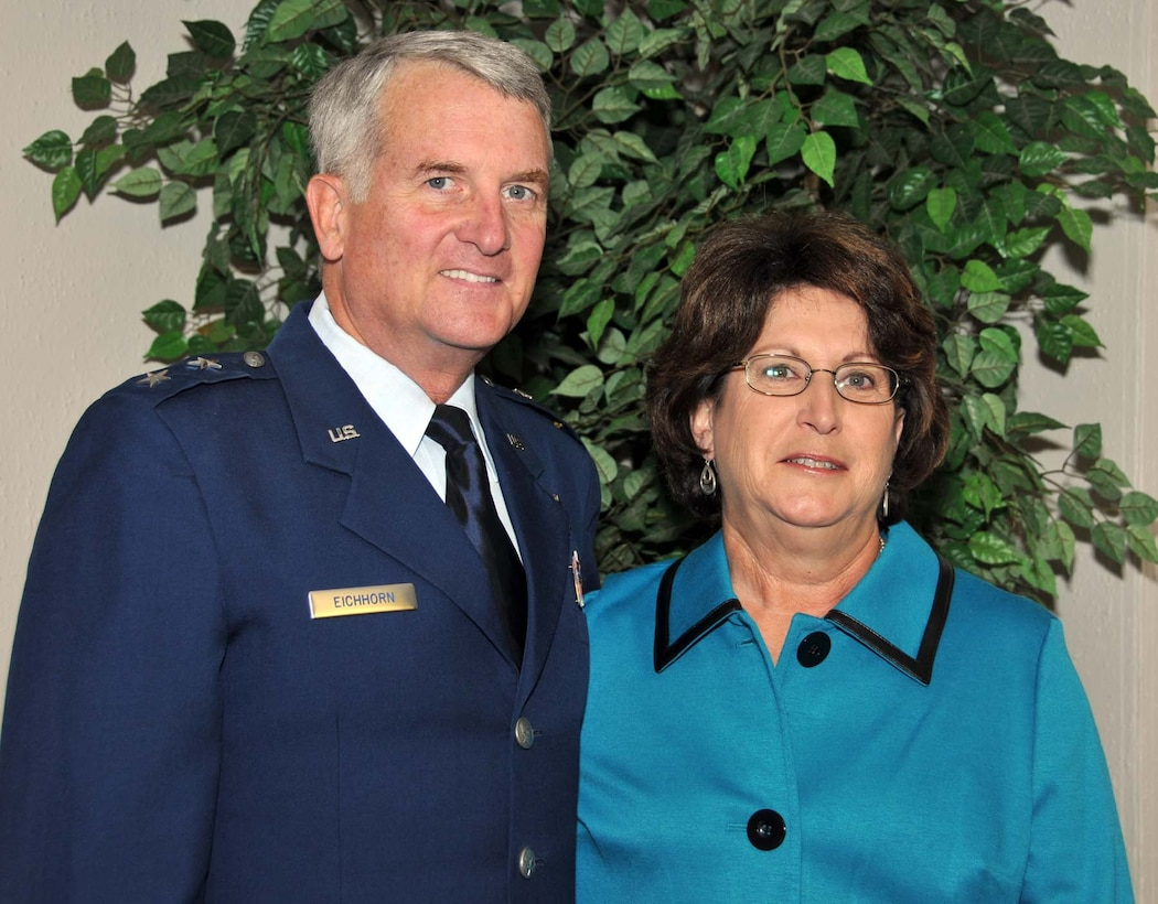 Maj. Gen. David J. Eichhorn and his wife, Anita, are welcomed to the Air Force Operational Test and Evaluation Center following the Oct. 22 change of command ceremony at Kirtland Air Force Base, N.M.