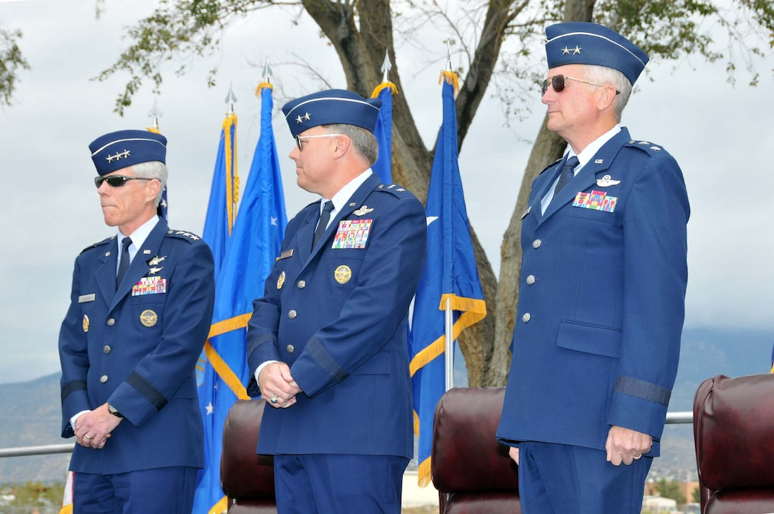 (Left to right) The official party for the Air Force Operational Test and Evaluation Center Change of Command included Assistant Vice Chief of Staff of the Air Force Lt. Gen. William L. Shelton, outgoing AFOTEC Commander Maj. Gen. Stephen T. Sargeant, and incoming AFOTEC Commander Maj. Gen. David J. Eichhorn.