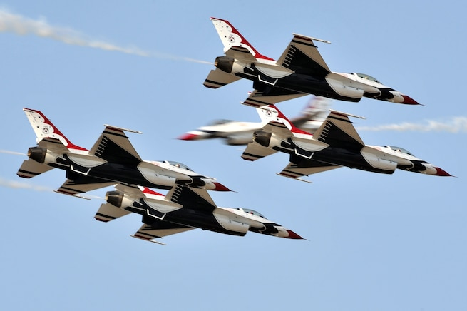 The Air Force Thunderbirds fly over Little Rock Air Force Base Oct. 10 during the air show and open house. The team demonstrated the capabilities of Air Force pilots and the F-16C Fighting Falcon. (U.S. Air Force photo by Staff Sgt. Chris Willis)