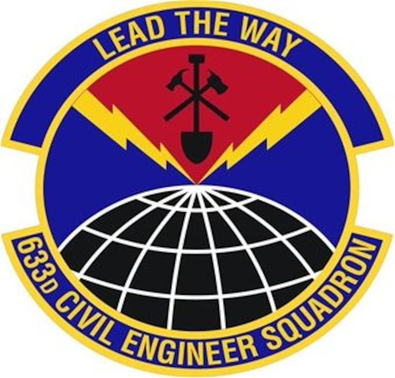 633d Civil Engineer Squadron shield (color) provided by 633d Air Base Wing Public Affairs office.