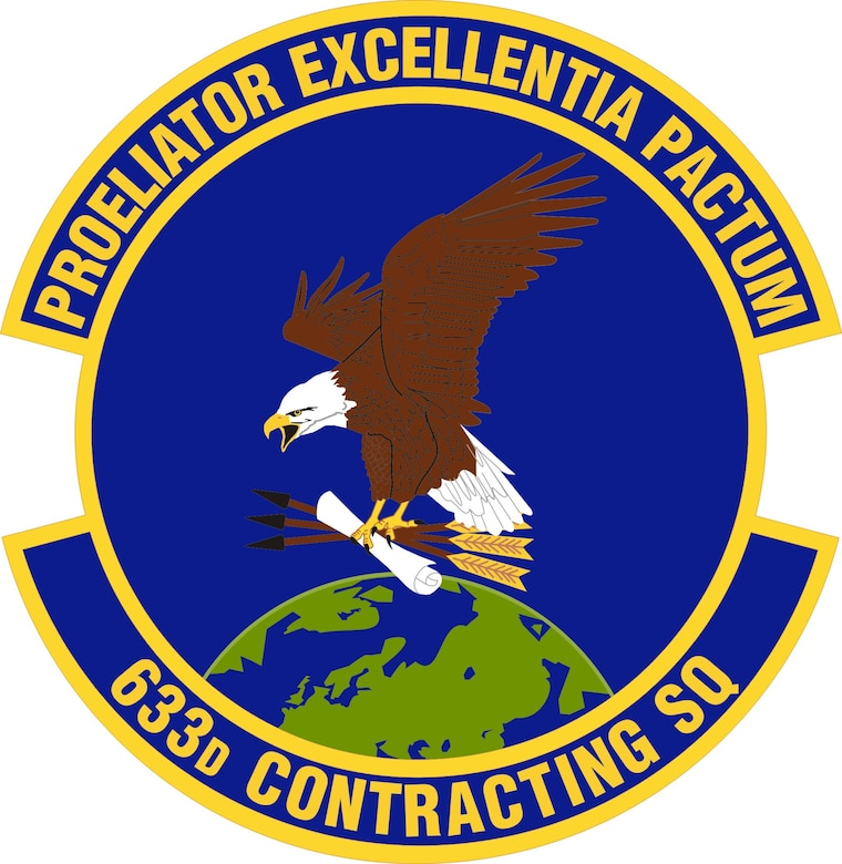 633d Contracting Squadron patch, provided by the 633d Public Affairs office. (U.S. Air Force graphic)