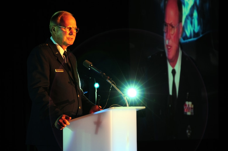 General Craig McKinley, chief of the National Guard Bureau, speaks at the annual Chamber of Commerce Dinner and Gala held on Oct. 21, 2010 at the Duluth Entertainment and Convention Center in Duluth, Minn.  Gen. McKinley was the keynote speaker for the event where he spoke highly of 148th accomplishments and the communities' positive support of military members.    (U.S. Air Force photo by SSgt Donald Acton)