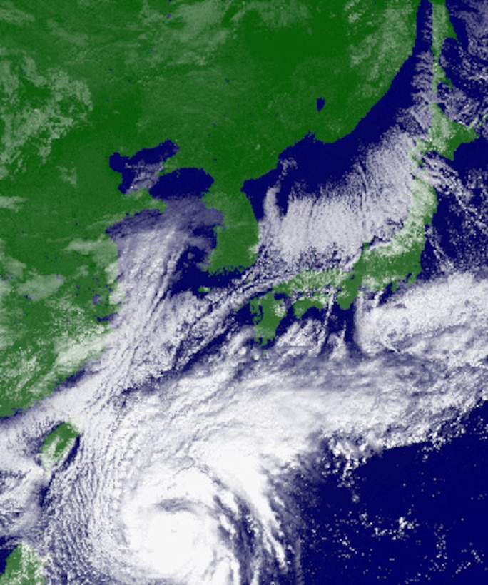 Typhoon Chaba makes its way toward Okinawa Oct. 27, 2010. People can get the latest storm updates by tuning to Armed Forces Network's 89.1 FM and 648 AM, or by visiting Kadena's weather, Facebook and Twitter sites. (Courtesy image provided by Japan Meteorological Agency)