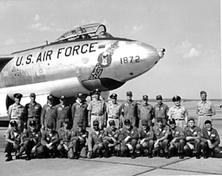 FAIRCHILD AIR FORCE BASE, Wash - Members of the 307th Bomb Wing pose in front of their B-47 Stratojet in 1961 during the 13th Annual Bombing and Navigation Competition. During this Bomb Comp, more categories were include – alert exercise, bombing, navigation, electronic counter-measures, air refueling, pilot techniques, and munitions loading – to determine the specific winner of the Fairchild Trophy. (Courtesy photo)
