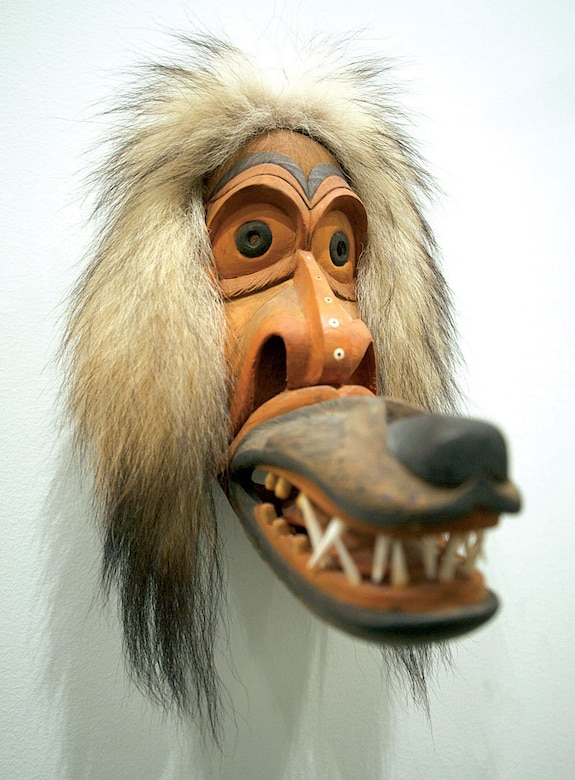 An untitled art work by Sam K. Fox, made of wood, wolf fur, walrus ivory, and whale baleen is part of a contemporary Alaska Native art exhibition at the Anchorage Museum. (U.S. Air Force photo/David Bedard)