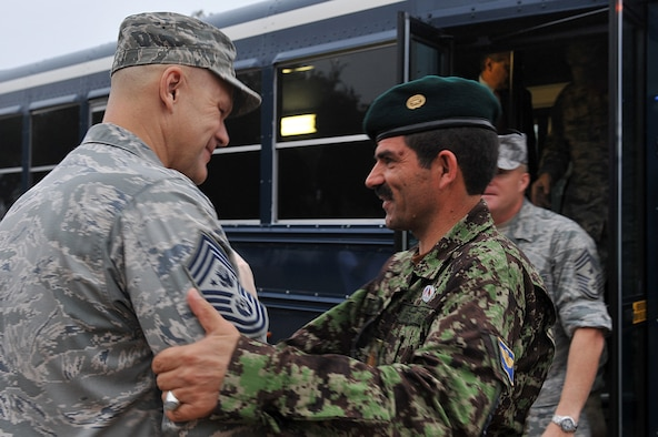 Chief Master Sgt. of the Air Force James A. Roy greets Eid Mohammad, the command sergeant major of the Afghan air force, Oct. 27, 2010, at Lackland Air Force Base, Texas. (U.S. Air Force photo/Staff Sgt. Desiree Palacios)