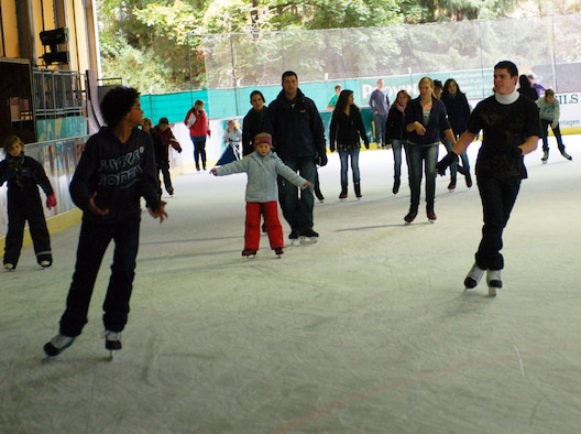 BITBURG, Germany -- Skaters of all ages including those who would like to learn the fun activity can be found at the Bitburg ice rink on any day of the week.  Information about learning possibilities, practice hours, entry prices or how to become a member of an ice skating association or ice hockey club can be obtained at the ice stadium at 06561-8447 or via email at Eissporthalle.bitburg@t-online.de. (U.S. Air Force photo/Iris Reiff)