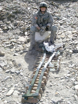 Staff Sgt. Alonzo E. Warner, 509th Civil Engineer Squadron, recovers unexploded ordnance while clearing routes in Afghanistan in 2008. Sergeant Warner recently returned returned from another deployment to Kirkuk Air Base, Iraq in March. While there, he and his EOD team members were responsible for clearing routes for convoys, training military members, and supporting the airfield by removing unexploded ordnance.