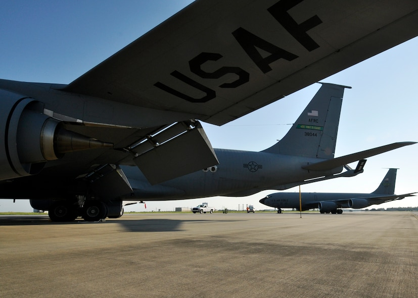 A 916th Air Refueling Wing KC-135 Stratotanker pulls into place beside of another tanker at Eglin Air Force Base Fla., Sept. 1  Their arrival was as part of a hurricane evacuation from Seymour Johnson AFB, N.C.  Approximately 30 F-15E Strike Eagles, three KC-135s and 300 personnel arrived to beddown the aircraft as Hurricane Earl headed for the N.C. coast.  The 33rd Fighter Wing, a former F-15 unit now the training wing for the F-35 Lightning II, provided flightline space for the aircraft.  (U.S. Air Force photo/Samuel King Jr.)