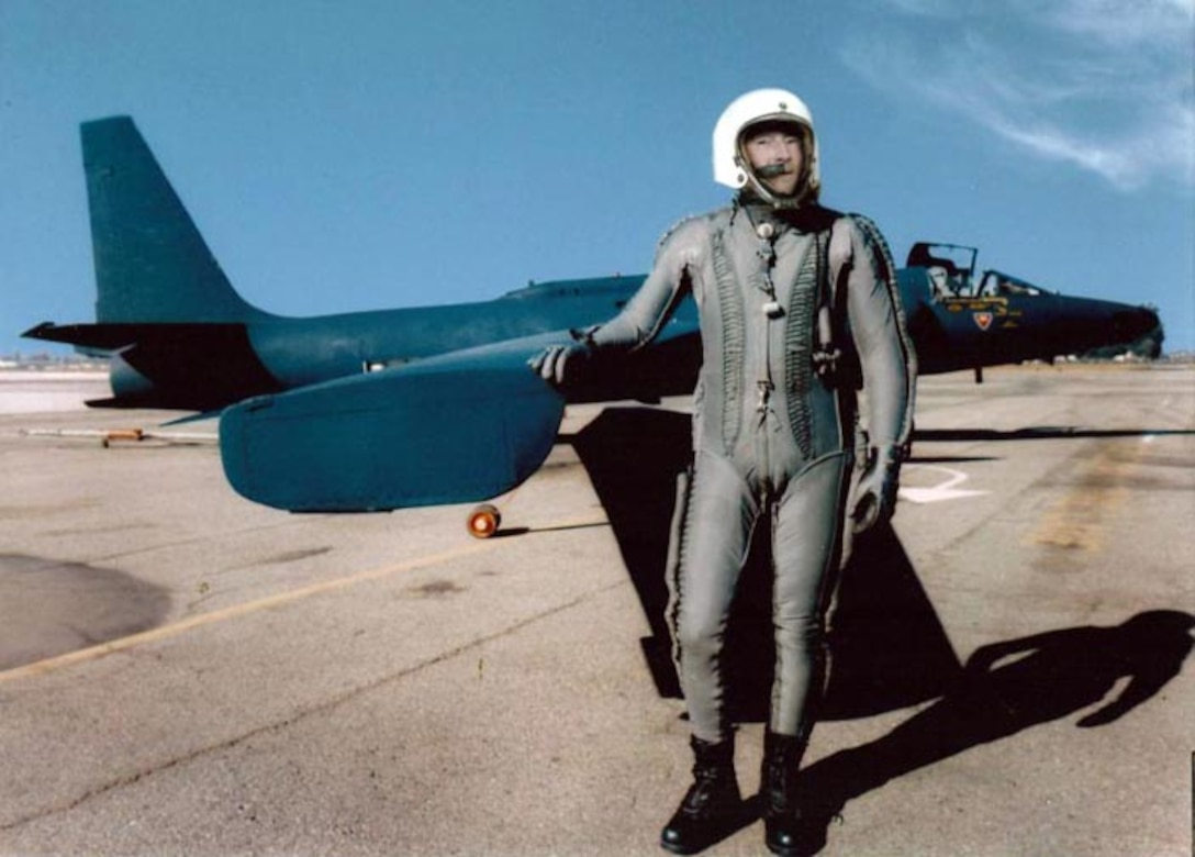 Retired Lt. Col. Tony Bevacqua poses next to the wings of an original U-2 Dragon Lady during the late 1950s. Colonel Bevacqua was one of the first U-2 pilots in the Air Force. (Courtesy photo)
