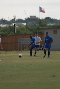 Randolph Air Force Base soccer team plays other intramural teams from other Air Force bases from across the United States. Randolph didn't score while the other team made two goals. The games were part of 2010 Defender's Cup held at the South Texas Area Regional Soccer Complex in San Antonio, Texas.  (U.S. Air Force Photo/Brian McGloin)