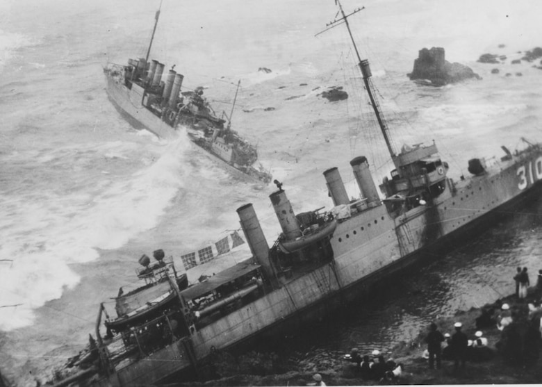 VANDENBERG AIR FORCE BASE, Calif. - Twenty-three Sailors lost their lives as seven U.S. Navy destroyers wrecked against the rocks near the Vandenberg shores here in 1923. This tragedy was later referred to as the Honda Point disaster. (U.S. Air Force photo)