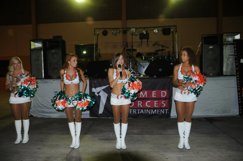SOTO CANO AIR BASE, Honduras --  The Miami Dolphins cheerleaders performed dance routines and more for Team Bravo during an Armed Forces Entertainment show here Sept. 2. The show was meant to increase morale of personnel who are far away from their families. (U.S. Army photo/Spc. Jennifer Grier)