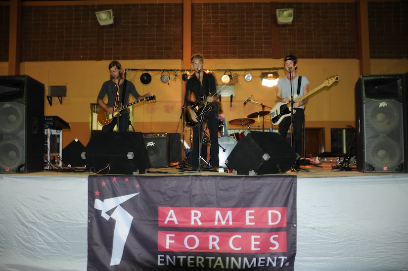 SOTO CANO AIR BASE, Honduras -- Armed Forces Entertainment hosts a rock show by the rising artists The Kicks here Sept. 2. The Kicks performed a two hour set for U.S. and Honduran servicemembers. (U.S. Army photo/Spc. Jennifer Grier)