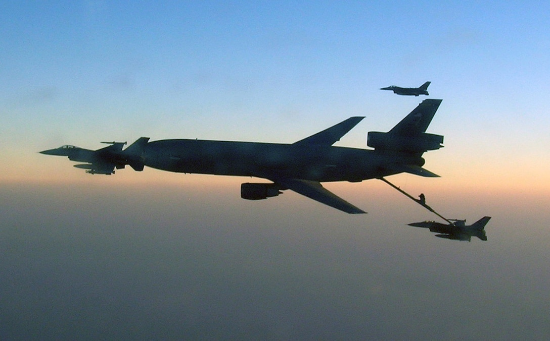 A KC-10 Extender from the 908th Expeditionary Air Refueling Squadron refuels F-16 Fighting Falcons Feb. 1, 2010, over Afghanistan, during Operation Enduring Freedom air refueling operations in February 2010. (U.S. Air Force photo/Capt. Sean Chuplis)