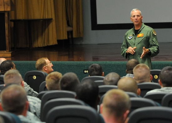 Maj. Gen. Floyd Carpenter, 8th Air Force commander, speaks with Airmen deployed to Andersen Air Force Base, Guam during a meet and greet at the base theater Aug. 30, 2010. During the meet and greet General Carpenter expressed his appreciation a job well done in support of the 36th Wing and U.S. Pacific Command's continuous bomber presence mission. (U.S. Air Force photo by Senior Airman Nichelle Anderson)