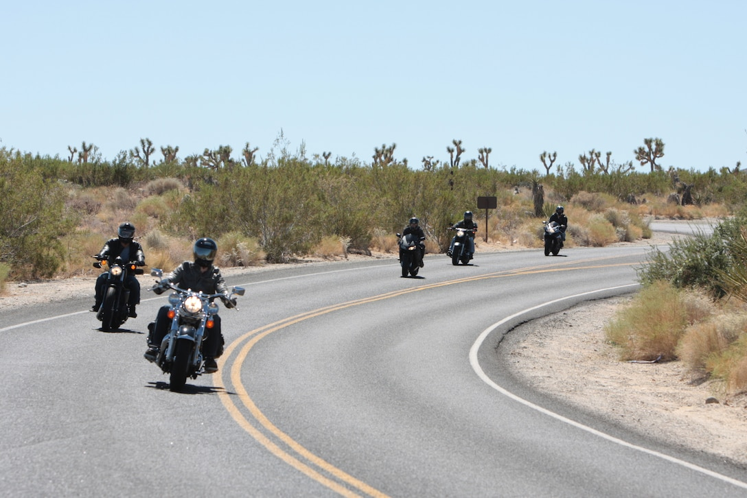 Bikers with 2nd Battalion, 7th Marine Regiment weave their way through Joshua Tree National Parks winding roads during 2/7's first motorcycle ride Sept. 10.