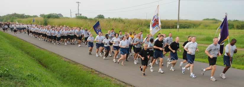 SOTO CANO AIR BASE, Honduras --  Team Bravo runners hit a straight-away as they near the completion of the Joint Task Force-Bravo Run here Sept. 10. (U.S. Air Force photo/Tech. Sgt. Benjamin Rojek)