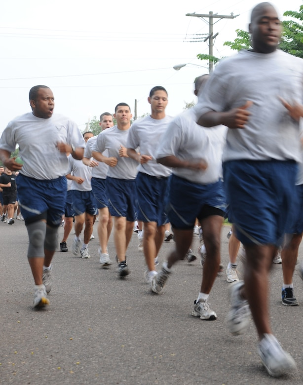 SOTO CANO AIR BASE, Honduras --  A 612th Air Base Squadron member sings a jody to keep the squadron in step during the Joint Task Force-Bravo Run here Sept. 10. The two-mile monthly run brings all of JTF-Bravo together to run in formation. (U.S. Air Force photo/Tech. Sgt. Benjamin Rojek)