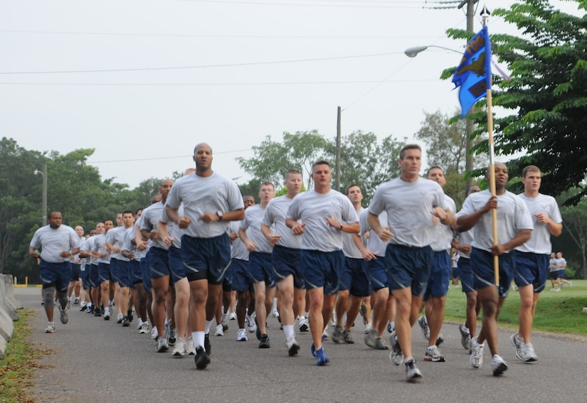 SOTO CANO AIR BASE, Honduras --  Members of the 612th Air Base Squadron run in formation during the Joint Task Force-Bravo Run here Sept. 10. The monthly run encourages esprit de corps and physical fitness. (U.S. Air Force photo/Tech. Sgt. Benjamin Rojek)