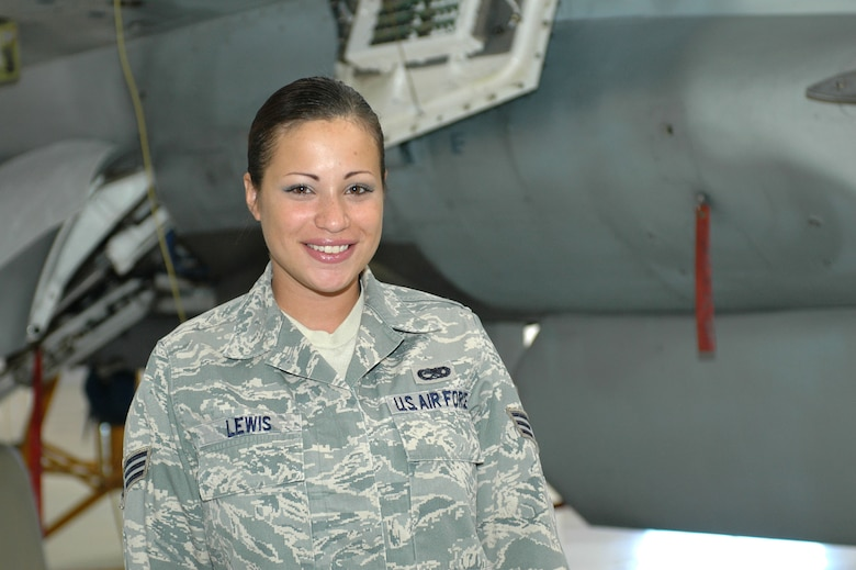 """Senior Airman Linda Lewis 162nd Maintenance Group  """"My roommate woke me up telling me about what happened. I was in shock and worried because I couldn't get hold of some close family friends who lived in the area. It took months before I heard from them.""""  (Air Force photo by Airman 1st Class Krystal Tomlin)"""