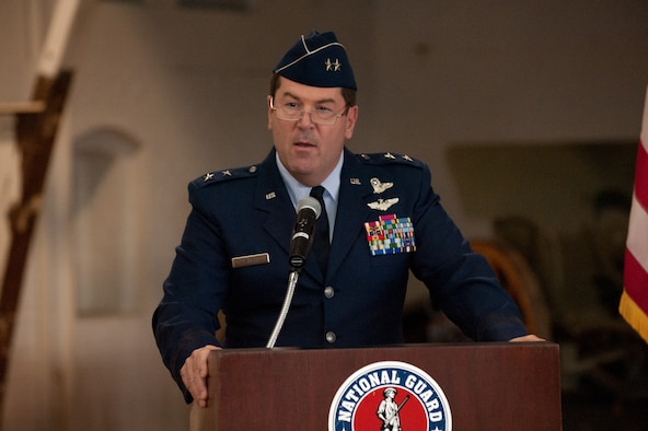 Maj. Gen. Michael D. Akey, outgoing Commander Massachusetts Air National Guard, addresses the crowd during a change of command ceremony held at the National Guard Museum in Worcester Mass. on September 12, 2010. (Photo by Technical Sergeant Erik Klein)