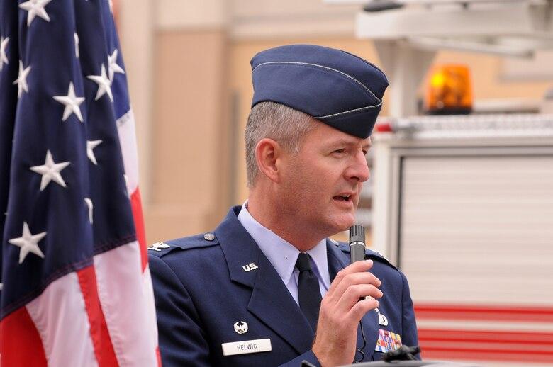 Col. Charles Helwig, Satellite Control Network Group commander, speaks at Hermosa Beach's 9-11 ceremony, Sept. 11. (Photo by Joe Juarez)