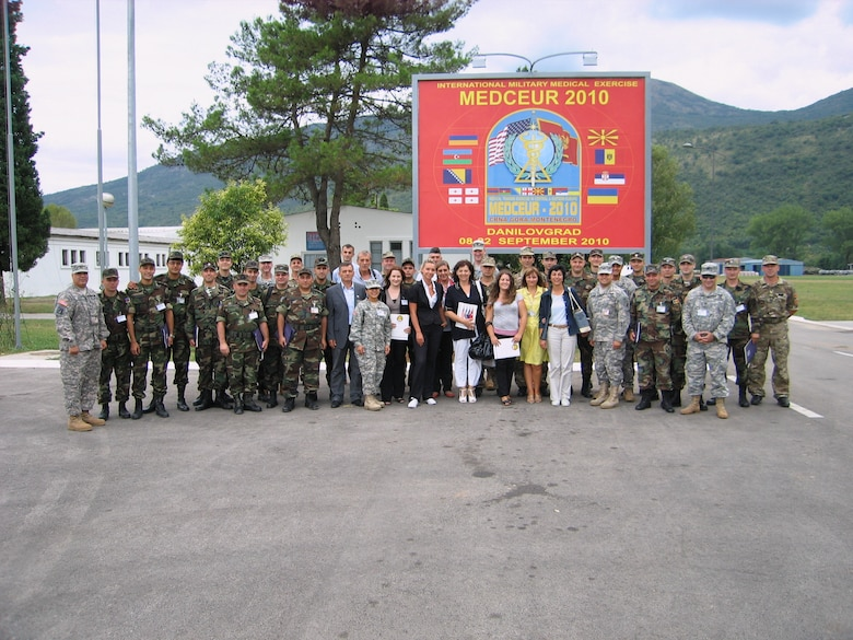 The U.S. Army Civil Military Operations team stands with their students Sept. 9 on the grounds of Danilovgrad Army Base, Montenegro, during the 2010 Medical Training Exercise in Central and Eastern Europe (MEDCEUR). The team teaches the basics of emergency planning and response to servicemembers of the ten nations participating in the exercise. For more information, go to www.usafe.af.mil/medceur.asp and www.odbrana.gov.me. (U.S. Army photo courtesy of Lt. Col. Jeff Gabel)
