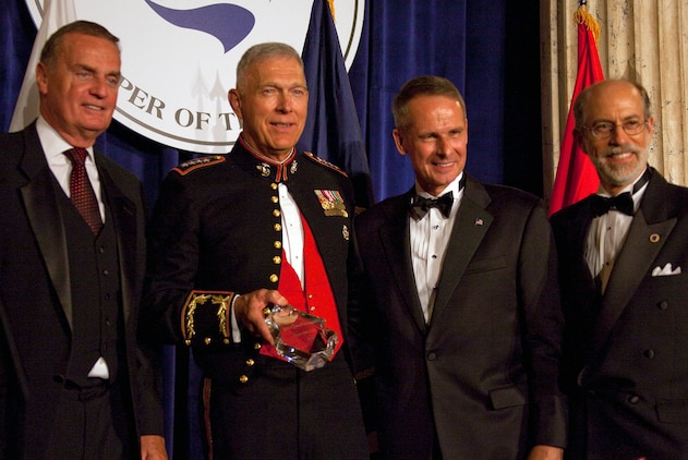 Retired Gen. James Jones, Gen. James Conway, commandant of the Marine Corps, retired Gen. Peter Pace, and Frank Gaffney, the president and CEO of the Center for Security Policy, pose after Conway accepted the 2010 Keeper of the Flame award at Union Station in Washington Sept. 14, 2010. The Center presented the award to Conway for his service as the senior leader of the Marine Corps and his contributions to the nation's security.