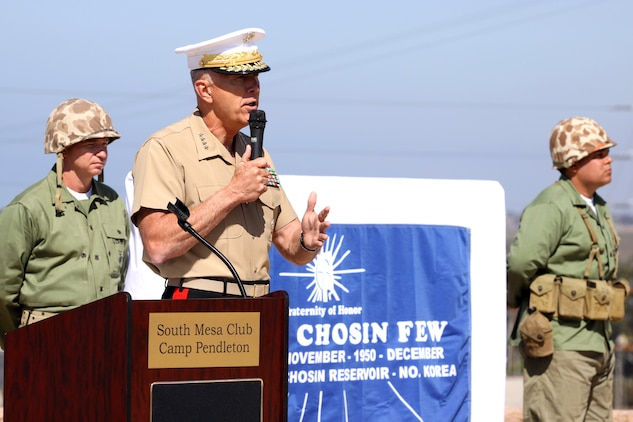 The 34th Commandant of the Marine Corps, Gen. James T. Conway, speaks during a monument dedication ceremony, Sept. 15, in honor of those who gave their lives at the Chosin Reservoir. The Camp Pendleton South Mesa Club now exhibits the 3,000 pound granite monument to remind those present of the military's service and sacrifice during the reservoir's bitter campaign in which the 1st Marine Division fought a prodigious battle.