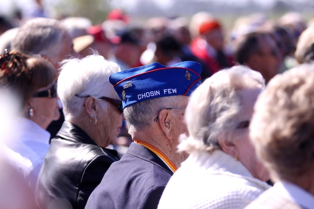 "The surviving heroes of the Chosin Reservoir battle, known as the ""Chosin Few,"" stood out gallantly among the crowd of Marines, sailors and distinguished guests who attended a monument dedication ceremony at the Camp Pendleton South Mesa Club, Sept. 15. During the battle, Marines and soldiers fought against more than 100,000 Chinese troops, and was one of the major battles of the three-year war with Korea."
