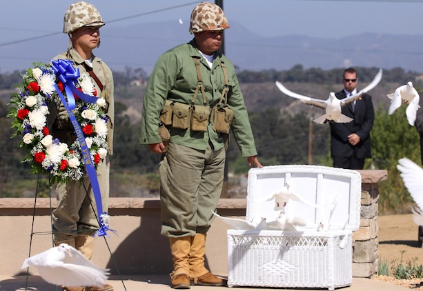 Doves are released during a Chosin Reservoir monument dedication ceremony at the Camp Pendleton South Mesa Club, Sept. 15. The ceremony was held to honor the 60th anniversary of Operation Chromite; the dangerous and difficult amphibious landing at Inchon, Korea, Sept. 15, 1950.