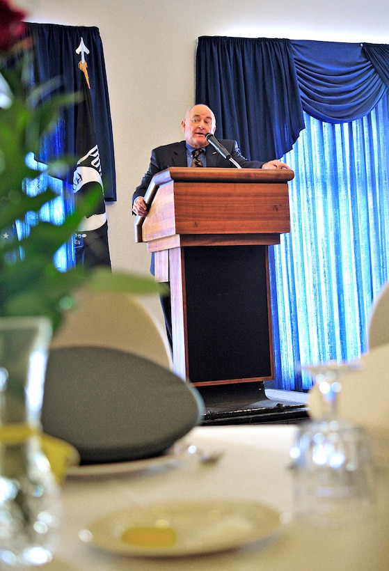 Former prisoner of war, retired Navy Capt. David Hoffman, addresses the audience at the POW/Missing in Action Luncheon, Sept. 17, 2010, at Ramstein Air Base, Germany. (U.S. Air Force photo/Senior Airman Amanda Dick)