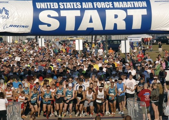 Thousands of runners start the half-marathon during the Air Force Marathon Sept. 18, 2010 at Wright-Patterson Air Force Base, Ohio.  A record breaking12,000 runners registered for the events held on Sept. 17-18.  (U.S. Air Force Photo/Michelle Gigante)