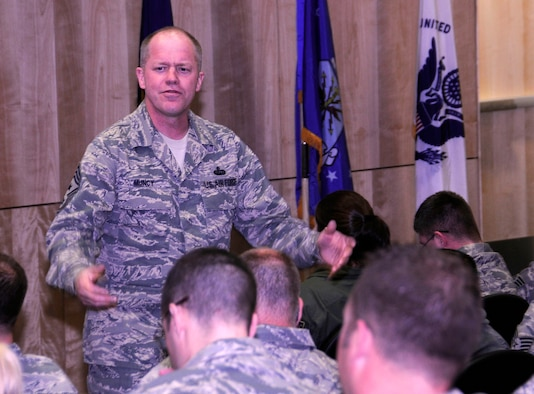ELMENDORF AIR FORCE BASE, Alaska -- Chief Master Sgt. Chris Muncy, the command chief master sergeant of the Air National Guard, speaks to junior NCOs from the Alaska Air National Guard's 176th Wing during a Sept. 18 enlisted leadership symposium here. Muncy came to deliver some key points and take the Guard members' concerns back to Washington. He emphasized that less than one percent of the population of America is tasked with defending the rest, and reminded the members to take care of their wingmen and families.  AKANG photo by SSgt N. Alicia Goldberger.