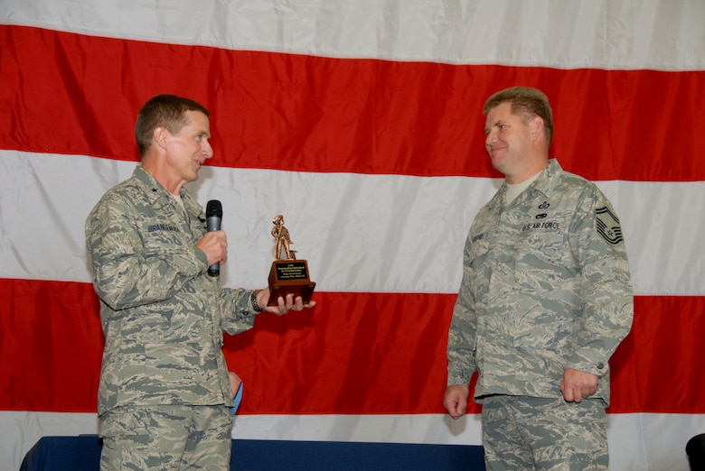 Brigadier General Joseph Brandemuehl, 115th Fighter Wing commander, presents the Air National Guard Safety Professional of the year to Sen. Master Sgt. Thomas Egstad of the 115th safety office. (U.S. Air Force photo by Tech. Sgt. Ashley Bell)