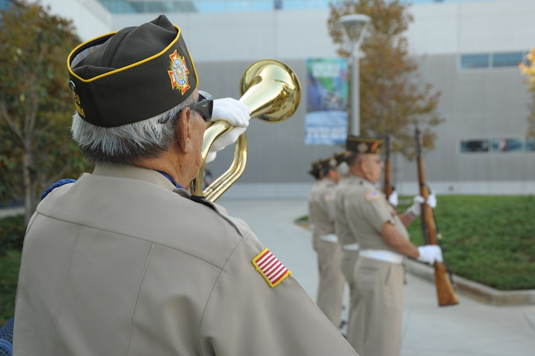 A bugler from the Port of Los Angeles VFW post plays during the POW-MIA closing ceremony, Sept. 17. (Photo by Joe Juarez)