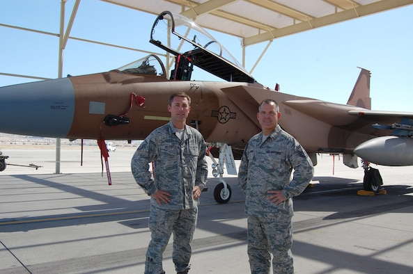 "From left, Master Sgt. Kelley and Senior Master Sgt. Brunin are both maintainers with the 926th Aircraft Maintenance Squadron. They were recognized for a ""job well done"" during a recent dissimilar air combat training, or DACT, exercise that took place in Holloman Air Force Base, N.M. Sergeant Brunin is the production superintendent, and Sergeant Kelley is an expeditor with the 926th AMXS. Through the Air Force's Total Force Integration initiative, both Air Reserve Technicians are integrated in the Flanker Aircraft Maintenance Unit, a Regular Air Force unit here."