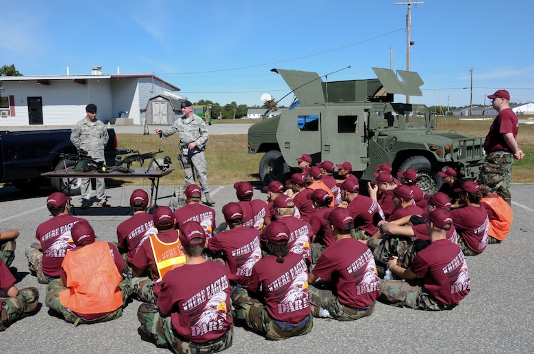 On September 23, 2010, members from the Woonsocket, RI, Junior ROTC program visit Camp Edwards for military demonstrations and drill. Technical Sgt. Sean Dias and Staff Sgt. Edward Rene give a briefing and demonstration on the equipment they use to perform their duties as Security Forces with the 102d Intelligence Wing, Cape Cod, Mass.