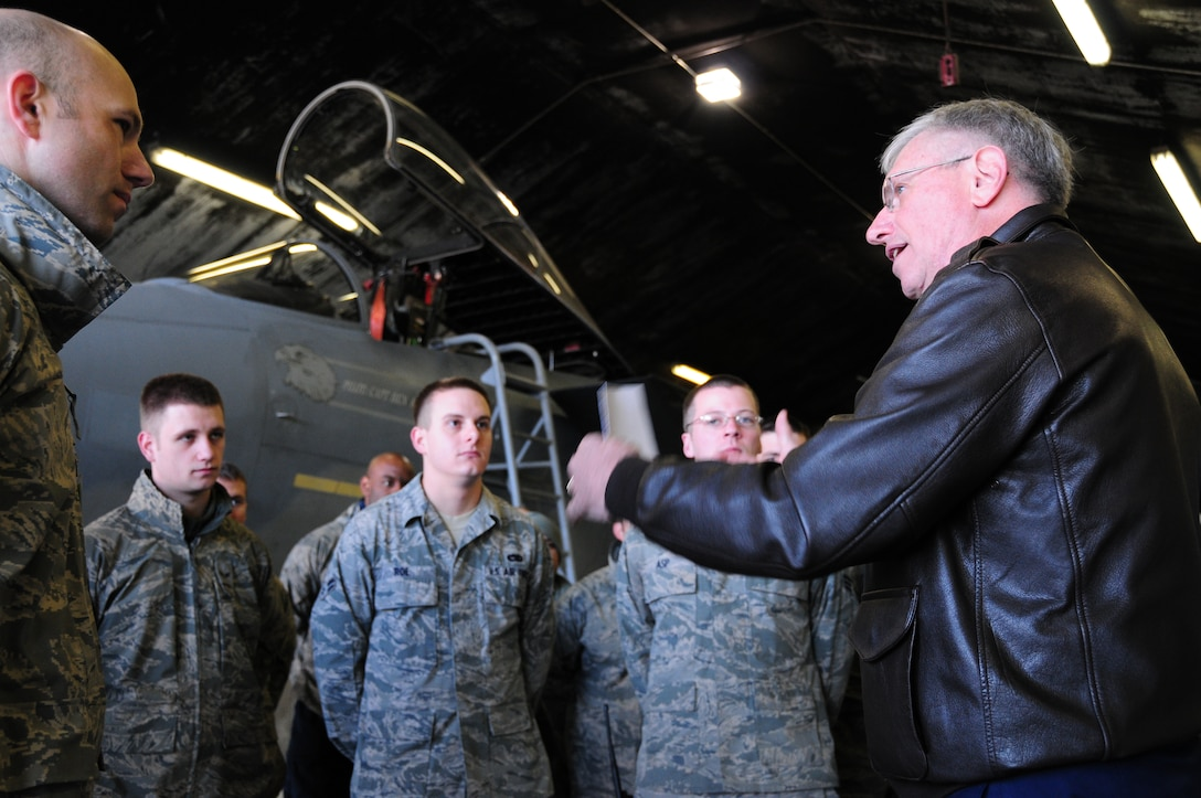 KEFLAVIK, Iceland – Gen. Roger A. Brady, U.S. Air Forces in Europe commander, talks to 493rd Expeditionary Fighter Squadron Airmen during a visit here Sept. 22. The 493rd EFS has been performing NATO's Icelandic Air Policing mission since Sept. 6, 2010. (U.S. Air Force photo/Senior Airman Stephen Linch)