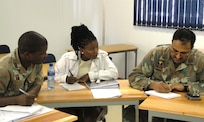 During DIMO's Disaster Planning course, small group sessions helped the students focus and implement the lessons learned from the lectures.  The students reviewed different parts of each agency/department's plans; Pretoria South Africa, November 2009.  (US Air Force Photo)