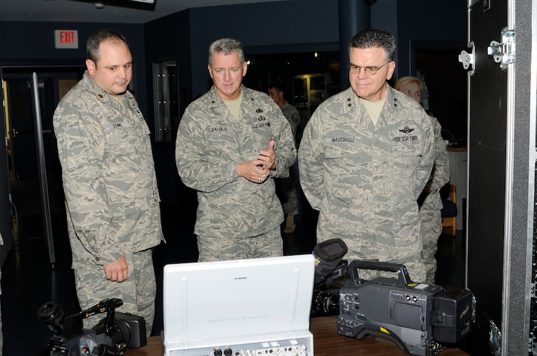 McGHEE TYSON AIR NATIONAL GUARD BASE, Tenn. - (From L-R) Maj. James Evans, TEC-TV Branch Chief, gives a tour of the TEC-TV studios in Spruance Hall here to Air National Guard strategic planning system steering committee leadership Brig. Gen. Joseph G. Balskus and Maj. Gen. Gary T. Magonigle, Sept. 23, 2010.  (U.S. Air Force photo by Master Sgt. Kurt Skoglund/Released)