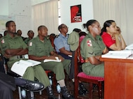 Guyana Defence Force personnel listen to lectures during Defense Institute for Medical Operations (DIMO) Critical Life Saving Skills for the First Responder course in Georgetown, Guyana, June 2009.  (US Air Force Photo)
