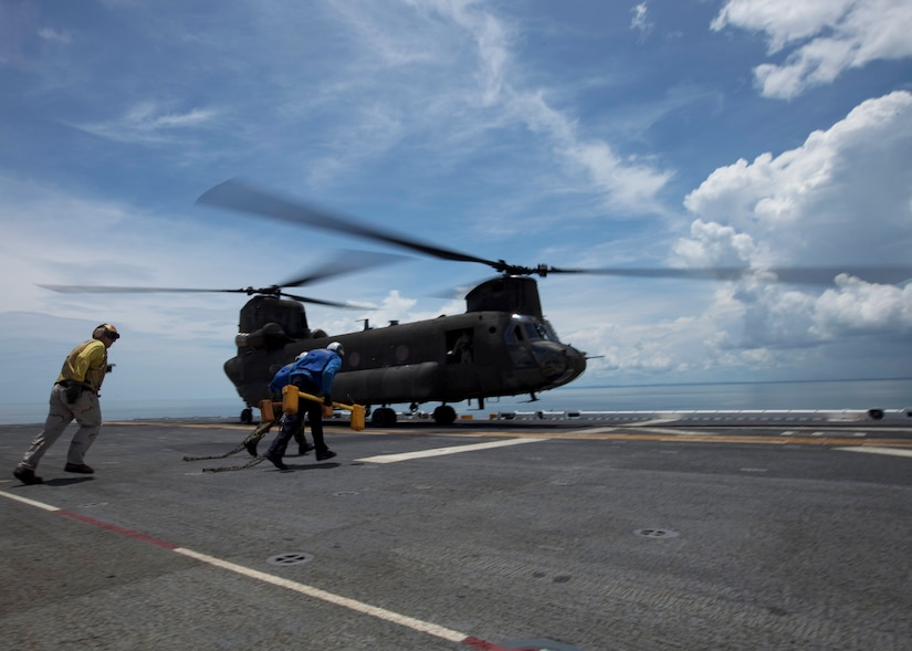 CARIBBEAN SEA --  A 1-228th Aviation Regiment CH-47F Chinook helicopter lands aboard amphibious assault ship USS Iwo Jima off the coast of Bluefields, Nicaragua, Sept. 20 in support of Operation Continuing Promise. U.S. servicemembers and civilians were deployed in support of Continuing Promise, providing humanitarian assistance, disaster relief and subject-matter exchanges to the Caribbean and Central and South America. (U.S. Marine Corps photo/Sgt. Samuel R. Beyers)
