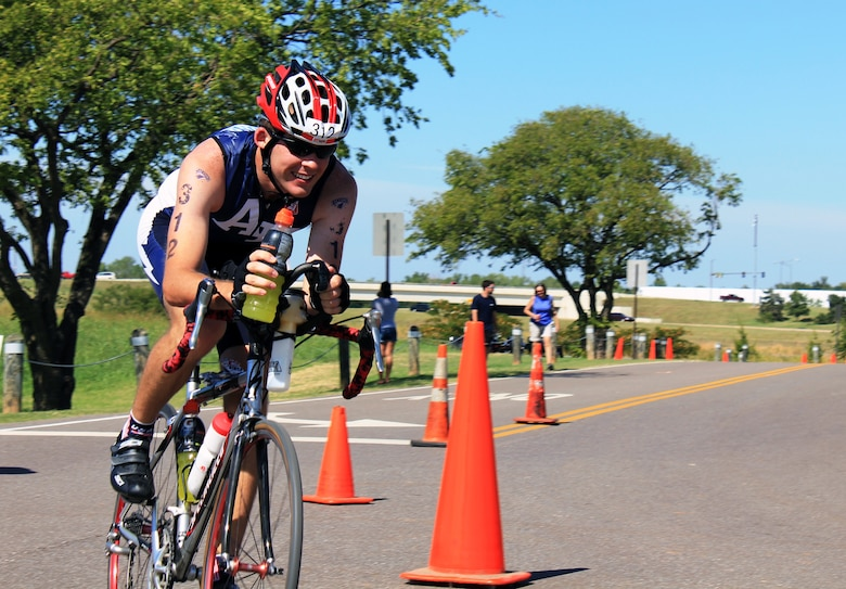 Cadet 3rd Class Brad Phelan makes his way through the bike course Saturday, Sept. 25, 2010 during the Redman Triathlon in Oklahoma City.  Phelan and two other cadets raced in the event representing the Air Force Academy Triathlon Club. (Courtesy Photo)