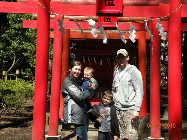 The Kelley family enjoys Japan before the earthquake. Airman First Class Shawn Kelley (left), Rebecca with Brayden (center) and Parker. Rebecca and the boys (plus Dylan not pictured) arrived in Florida March 24 after traveling for three days from Misawa Air Base, Japan. Airman Kelley, an Emergency Management Specialist, stayed behind in Japan.