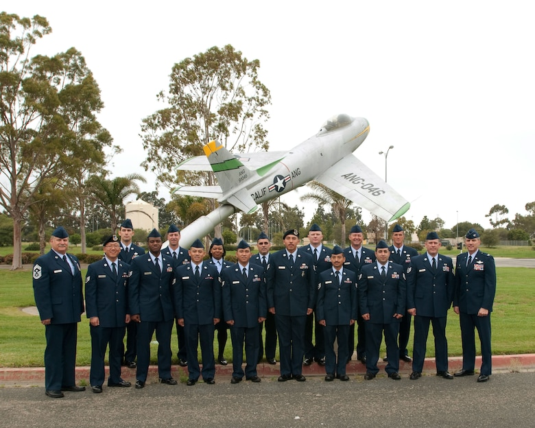 The 146th Airlift Wing at Channel Islands ANGS quarterly celebrates the promotion of new NCOs and Senior NCOs with an induction ceremony held on the base. Pictured here is the latest group who were promoted during the first quarter of 2011.