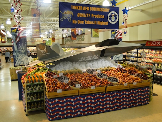 "This F-22 Raptor advanced tactical fighter model, which is actually a go-cart, takes produce sky high at the commissary at Tinker Air Force Base, Okla. Tinker commissary managers won their second straight ""best large U.S. store"" award. Ten commissaries worldwide earned honors in 2010 during the 10th Annual Produce Merchandising Contest. The annual competition highlights the Defense Commissary Agency's role as nutritional leader for the Department of Defense.  Winning stores excelled in quality and team performance in areas such as creative displays, customer education events and increased produce sales. (DeCA photo/Dennis Messner)"