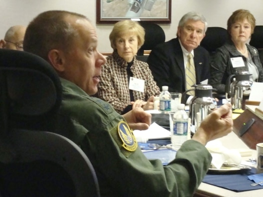 Gen. Donald Hoffman, commander of Air Force Materiel Command, meets with his Community Liaison Program members March 30, 2011, at command headquarters. A key discussion item for the group included Air Force efficiencies. Among those at the meeting were (from left) Alis Odenthal, representing Edwards Air Force Base, Calif., and Jim Apple and Janis Bowling, both representing Arnold Air Force Base, Tenn. The commander's Community Liaison Program comprises civic leaders from the cities and towns where AFMC's installations are located, with members invited by center or wing commanders to represent to General Hoffman their community partnerships with their installations. (U.S. Air Force photo/Rob Ely)