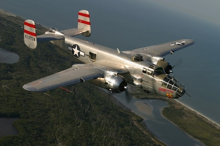 """The North American B-25J Mitchell Bomber """"Panchito"""" can fly at speeds of 275 mph and can reach a service ceiling of 24,000 feet. (Courtesy photo/Rag Wings and Radials)"""